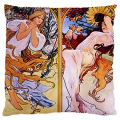 Four Seasons by Alphonse Mucha 1895 Large Cushion Case (Two Sides) from Manda s Macabre Front