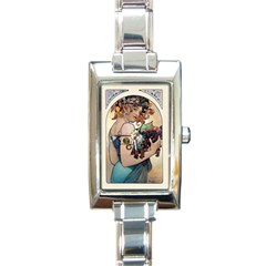 Fruit by Alfons Mucha 1897 Rectangular Italian Charm Watch from Manda s Macabre Front