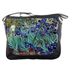 Irises by Vincent van Gogh 1898 Messenger Bag from Manda s Macabre Front