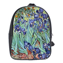 Irises by Vincent van Gogh 1898 School Bag (Large) from Manda s Macabre Front