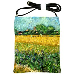 View Of Arles With Irises In The Foreground By Vincent Van Gogh 1888  Shoulder Sling Bag from Manda s Macabre Front