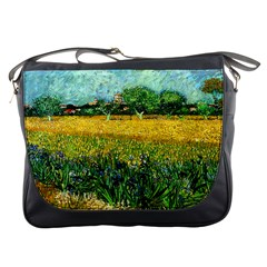 View Of Arles With Irises In The Foreground By Vincent Van Gogh 1888  Messenger Bag from Manda s Macabre Front