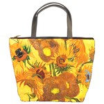 Vase With Fifteen Sunflowers By Vincent Van Gogh 1888 Bucket Bag from Manda s Macabre Front