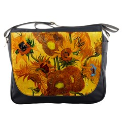 Vase With Fifteen Sunflowers By Vincent Van Gogh 1888 Messenger Bag from Manda s Macabre Front