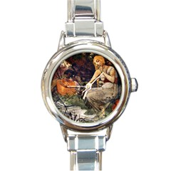 Prophetess By Alfons Mucha 1896 Round Italian Charm Watch from Manda s Macabre Front