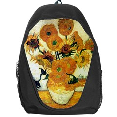 Vase With Fifteen Sunflowers By Vincent Van Gogh 1889 Backpack Bag from Manda s Macabre Front