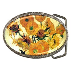 Vase With Fifteen Sunflowers By Vincent Van Gogh 1889 Belt Buckle from Manda s Macabre Front