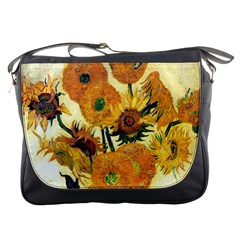 Vase With Fifteen Sunflowers By Vincent Van Gogh 1889 Messenger Bag from Manda s Macabre Front