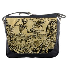 Dance Of Death By Michael Wolgemut 1493 Messenger Bag from Manda s Macabre Front