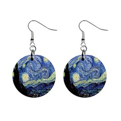 Starry Night By Vincent Van Gogh 1889 1  Button Earrings from Manda s Macabre Front