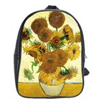 Vase With Fifteen Sunflowers By Vincent Van Gogh 1888 School Bag (Large)