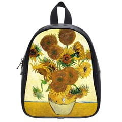 Vase With Fifteen Sunflowers By Vincent Van Gogh 1888 School Bag (Small) from Manda s Macabre Front