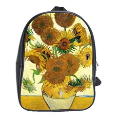Vase With Fifteen Sunflowers By Vincent Van Gogh 1888 School Bag (XL) from Manda s Macabre Front