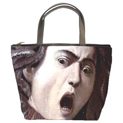 The Head Of The Medusa By Michelangelo Caravaggio 1590 Bucket Bag from Manda s Macabre Front
