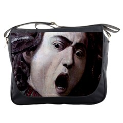 The Head Of The Medusa By Michelangelo Caravaggio 1590 Messenger Bag from Manda s Macabre Front