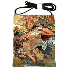 Autumn By Alfons Mucha 1896 Shoulder Sling Bag from Manda s Macabre Front