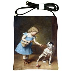 Young Girl Feeding A Dog By Carl Reichert Shoulder Sling Bag from Manda s Macabre Front
