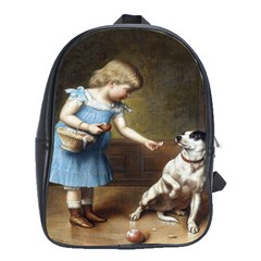 Young Girl Feeding A Dog By Carl Reichert School Bag (XL) from Manda s Macabre Front