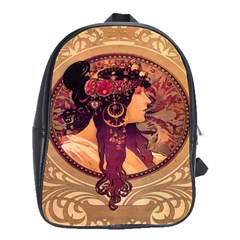 Donna Orechini By Alphonse Mucha School Bag (Large) from Manda s Macabre Front