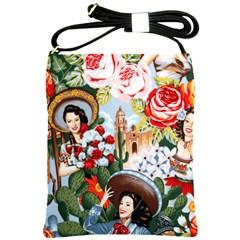 Pin Up Spanish Flowers Shoulder Sling Bag from Manda s Macabre Front