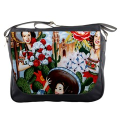 Spanish Flowers Pin Ups  Messenger Bag from Manda s Macabre Front